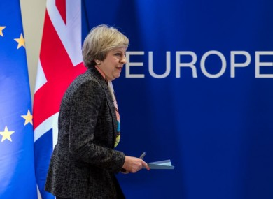 British Prime Minister Theresa May prepares to address a media conference at an EU summit in Brussels last week