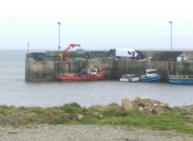 Crane lifts part of the wreckage in Blacksod, Mayo.