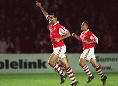 Osam celebrates scoring against Cork City in 1999.
