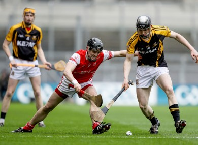 Pearse Lillis (right) in action for Ballyea against Cuala last Friday.