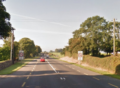 The N25 near to the scene of the plane crash.