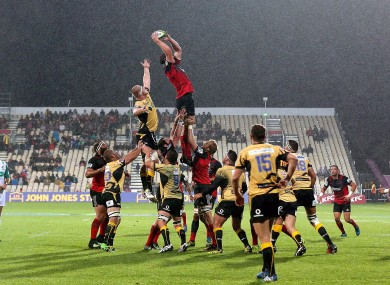 Scott Barrett wins a line-out for Crusaders during their 45 -17 win over the Force at the weekend.