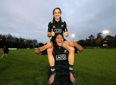 Selicia Winata and Aotearoa Mata'u celebrate victory against Ireland in November.