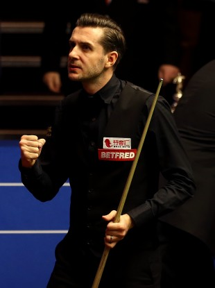 Mark Selby reacting after the end of the 2nd session during day sixteen of the Betfred Snooker World Championships at the Crucible Theatre.