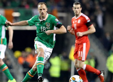 David Meyler in possession for Ireland during last month's goalless draw with Wales at the Aviva Stadium.