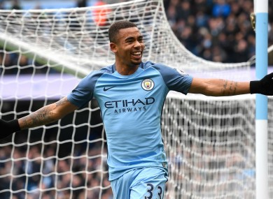 Gabriel Jesus celebrates a goal for Manchester City