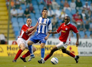 Shelbourne's Joseph Ndo and Owen Heary with Albert Luque of Deportivo during a Champions League qualifier at Lansdowne Road in 2004.