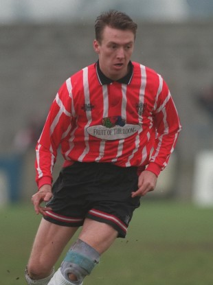 Coyle sporting the red and white of Derry City in 1996.