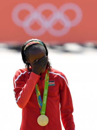 Jemima Sumgong after winning gold.