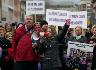 Demonstrators protesting the delay in securing the Orkambi drug for cf sufferers.