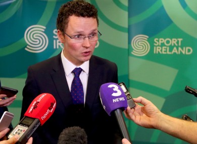 Minister O'Donovan speaking to media earlier.