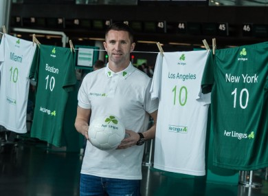 Robbie Keane at Dublin Airport today.