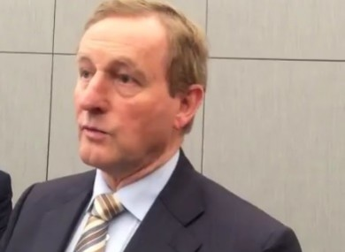 Taoiseach Enda Kenny speaking to the media today.