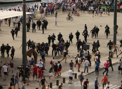 French riot police clashed with Russian and English fans in Marseille during Euro 2016.