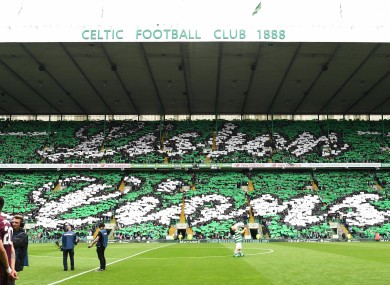 Celtic fans come together to display 'Lisbon Lions' in the stands.