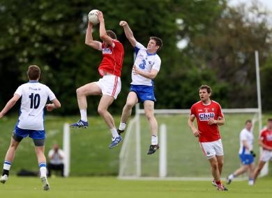 Mícheál Ó Laoire rises to catch a kickout in Saturday's match.