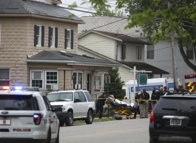 A person is removed from the Pine Kirk nursing home in Kirkersville, Ohio.