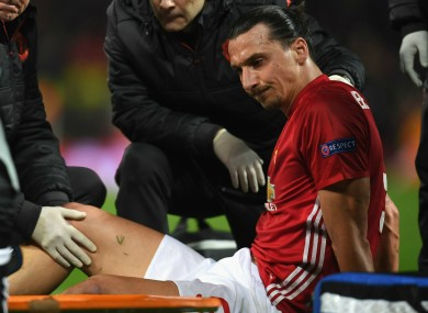 Ibrahimovic picked up the injury playing Anderlecht in the Europa League.