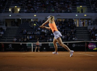 Sharapova in action at the French Open.
