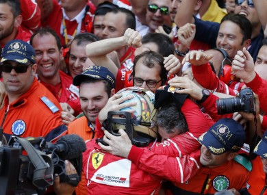Vettel celebrates his win.
