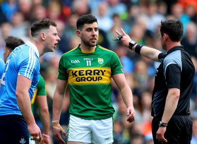 Philly McMahon argues with referee Paddy Neilan during Dublin's defeat to Kerry last month.