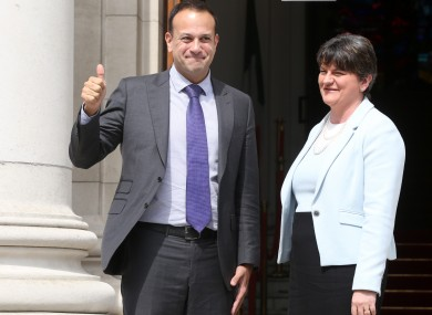 An Taoiseach Leo Varadkar TD and Democratic Unionist Party Leader Arlene Foster today.