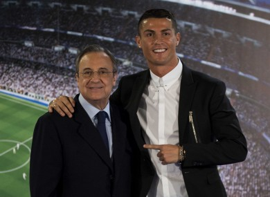 Cristiano Ronaldo and Real Madrid's president Florentino Perez (file pic).