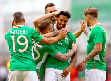 Ireland's Cyrus Christie celebrates scoring his side's second goal with Jonathan Walters, Jonny Hayes, Shane Duffy and Jeff Hendrick.