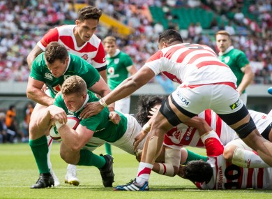 Dan Leavy goes over during Ireland's hammering of Japan on Saturday.