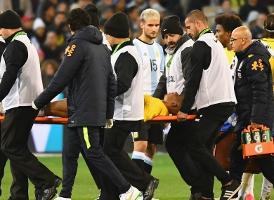 Gabriel Jesus is carried off the field after sustaining an injury.