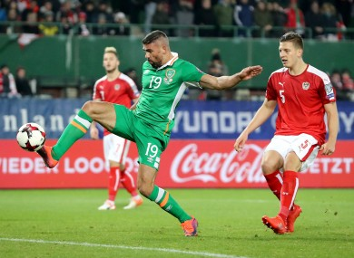 Jon Walters shoots during the win in Vienna.