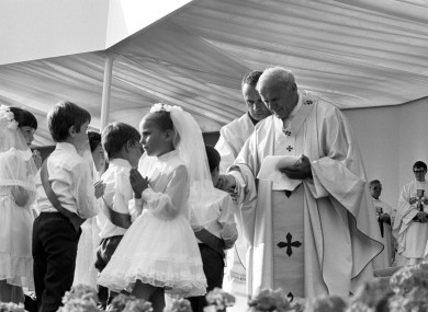 Glasgow children taking their first Holy Communion from Pope John Paul II at Bellahouston Park, Glasgow in 1982