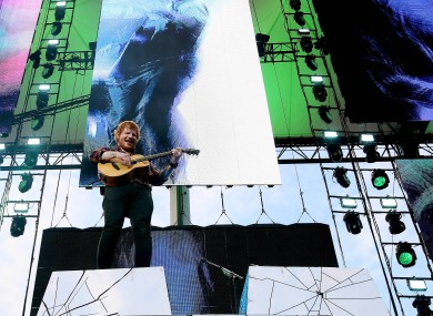 Ed Sheeran performs at Croke Park in 2015.