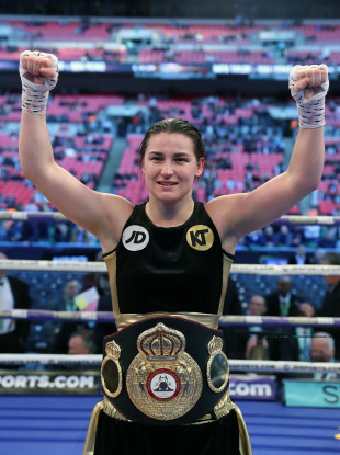 Katie Taylor celebrates after her victory over Nina Meinke at Wembley Stadium back in April.