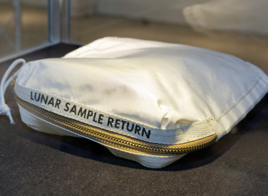 The Apollo 11 Contingency Lunar Sample Return Bag used by astronaut Neil Armstrong.