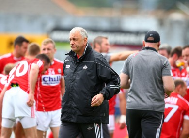 Cork boss Peadar Healy at their Munster final in Killarney.