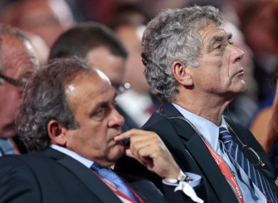 Villar (right) alongside former Fifa vice president Michel Platini.