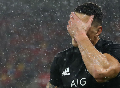 Sonny Bill Williams reacts to his red card at Westpac Stadium