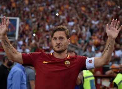 Totti saying goodbye to the Roma fans.