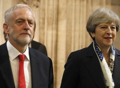 Labour leader Jeremy Corbyn and UK Prime Minister Theresa May.