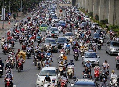 Only 12% of travel in Hanoi is public transport.