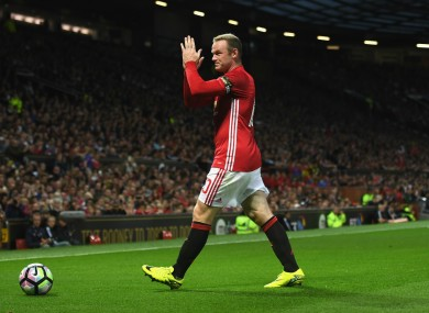 Manchester United's Wayne Rooney during his testimonial against Everton.