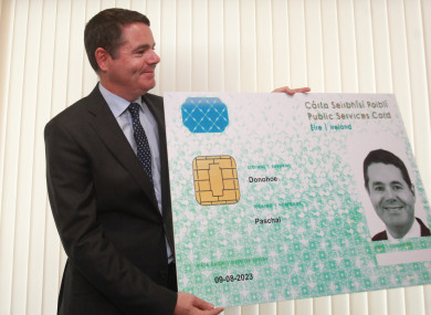 Minister Paschal Donohoe trumpeting the Public Services Card last year