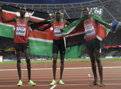 1500m world champion Elijah Motonei Manangoi (middle) with silver medallist  Timothy Cheruiyot (right) and compatriot Asbel Kiprop.