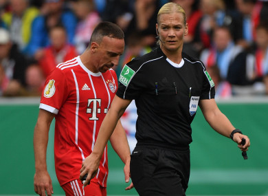 Franck Ribery and Bibiana Steinhaus.