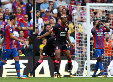 Huddersfield Town's Steve Mounie celebrates scoring his side's second goal during the Premier League match at Selhurst Park.