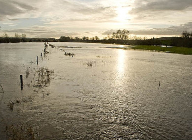 A flooded River Nore in the south-east of Ireland