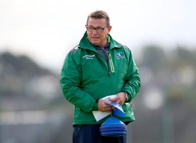 Connacht head coach Kieran Keane watches over training in Galway yesterday.