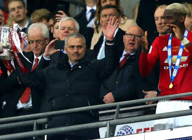 Jose Mourinho celebrates Manchester United's EFL Cup success last season.