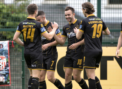 Robbie Benson celebrates after opening the scoring for Dundalk against Derry City.